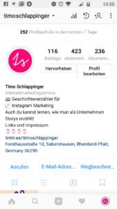 Profiluebersicht Instagram